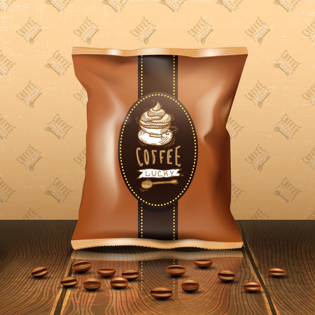 validity: Coffee pack design with beans wooden table and wallpaper realistic vector illustration Illustration