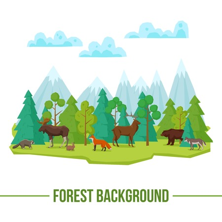 cute bear: Forest landscape poster with wild animals and mountains on background vector illustration Illustration