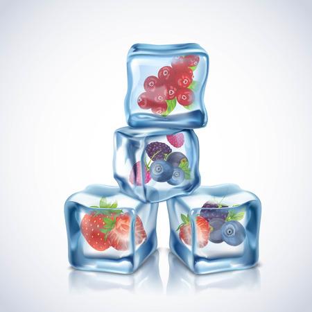 Realistici trasparente cubi blu ghiaccio con frutti di bosco all'interno illustrazione vettoriale Vettoriali