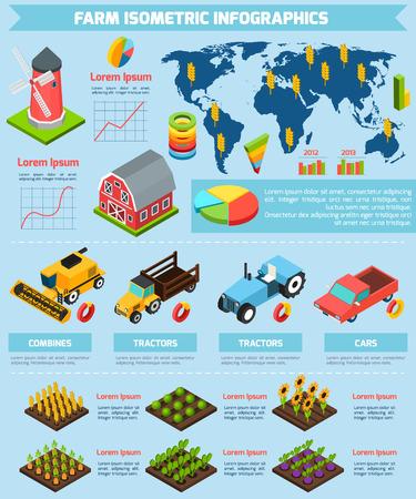 informe: Modernos de agricultura internacional instalaciones de producción agrícolas y equipos de análisis estadístico de presentación del informe infografía abstracta isométrica ilustración vectorial