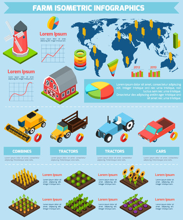 Modern international farming agricultural production facilities and equipment statistic analysis infographic report presentation abstract isometric vector illustration Illustration