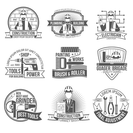 hammers: Construction industry and work industry premium quality label set isolated vector illustration