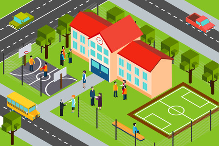 educativo: construcción de instalaciones educativas de la escuela secundaria con complejo de deporte al aire libre y autobús escolar bandera isométrica ilustración vectorial abstracto
