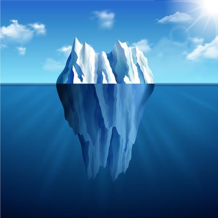 Polar landscape with iceberg on blue sunny background vector illustration Vettoriali