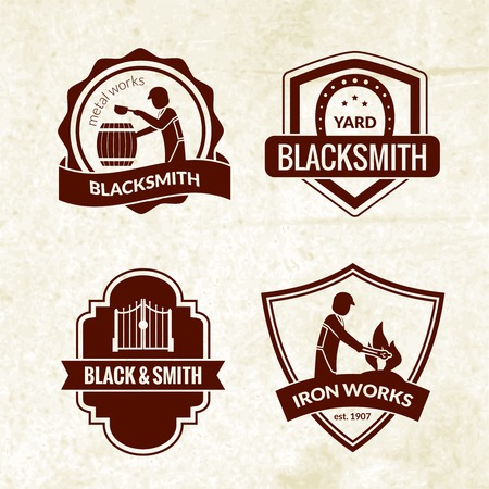 iron works: Blacksmith emblems set with iron works workshop symbols isolated vector illustration