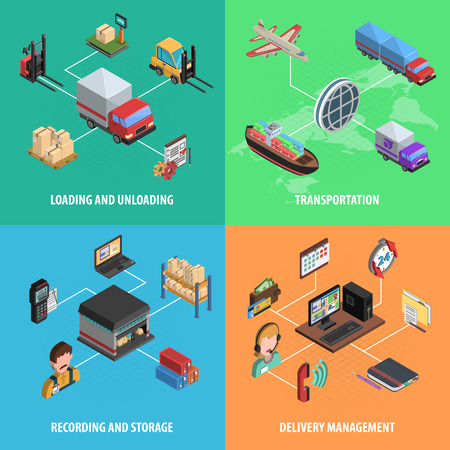 shipping container: Delivery and logistic square isometric icon set with loading transportation store and delivery management vector illustration Illustration