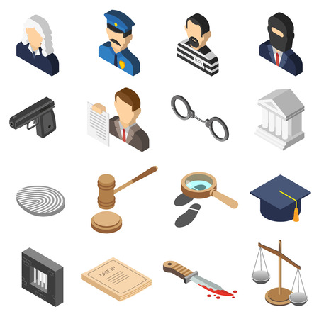 retribution: Heist robbers and police court lawyer and justice 3d isometric color icon set isolated vector illustration