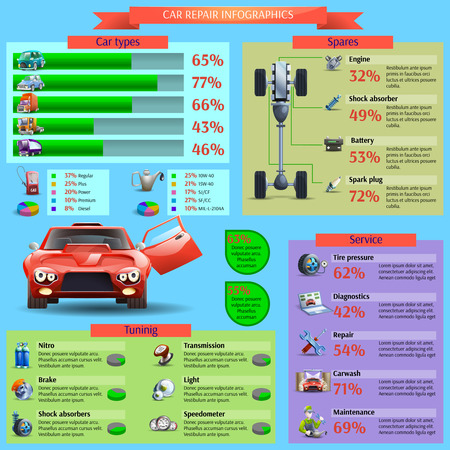 Car repair and tuning infographic set with diagnostics service and spares cartoon vector illustration Illustration