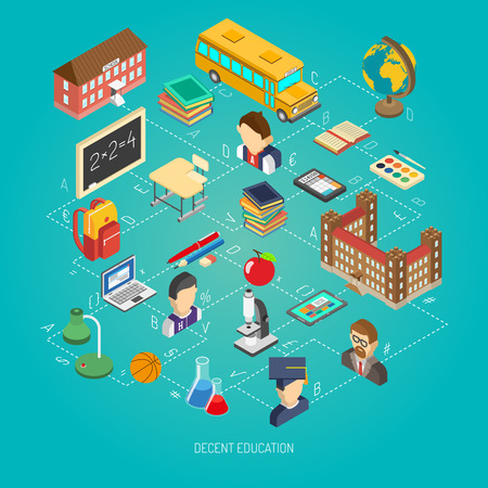School education concept poster with infographic elements lab with bus and chemistry teacher isometric abstract vector illustration
