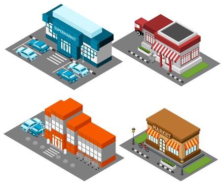 Uitstekende mening markt winkel straat met moderne supermarkt winkelcentrum isometrisch icons set abstract geïsoleerde vector illustratie