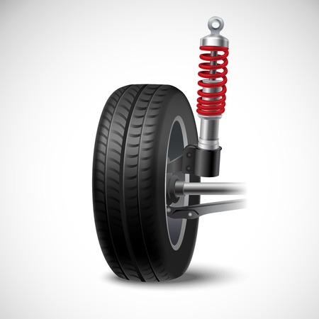 shock absorber: Car suspension realistic icon with wheel tire and shock absorber isolated on white background vector illustration
