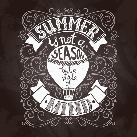 sketch book: Hand drawn black and white summer poster with hot air balloon vector illustration Illustration