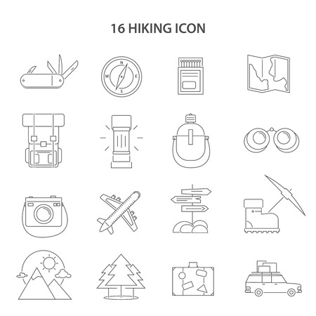 social icon: Hiking line black white icons set with compass map and car flat isolated vector illustration