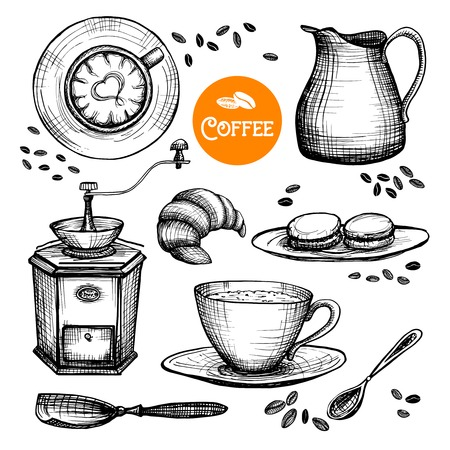 Hand drawn coffee set with milk pot cup and grinder isolated vector illustration