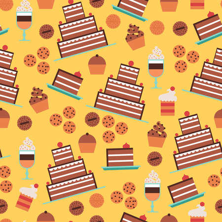 confectionery: Confectionery and cakes seamless pattern with desserts and cookies on yellow background  flat vector illustration Illustration
