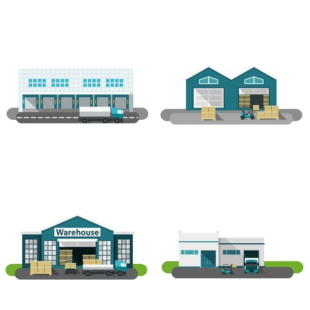 exteriors: Warehouse building flat icons set with transportation vehicles isolated vector illustration