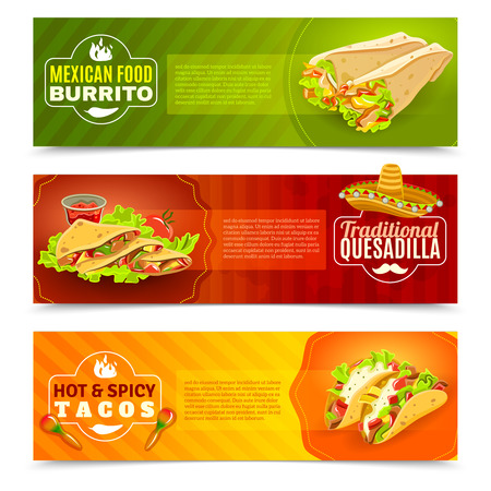 mexicans: Mexican tradition futures and cuisine or food flat color horizontal banner set isolated vector illustration