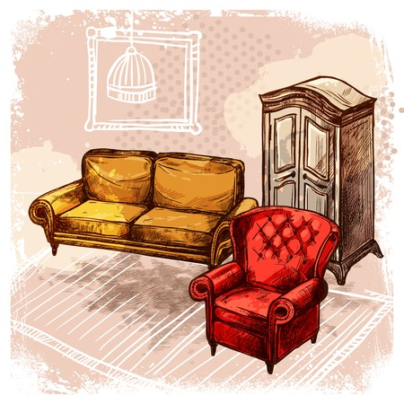 armchair: Retro room interior with old style sketch furniture vector illustration Illustration