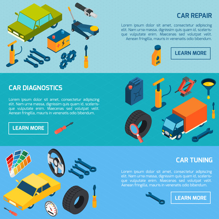 consumables: Car diagnostics repair and tuning with parts and consumables isometric horizontal banners set isolated vector illustration
