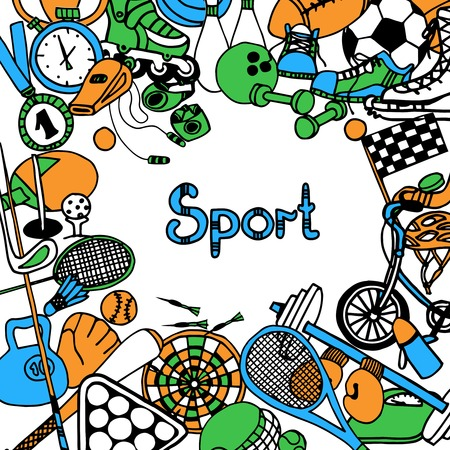 Sport sketch frame with fitness game and competition equipment vector illustration Stock Illustratie