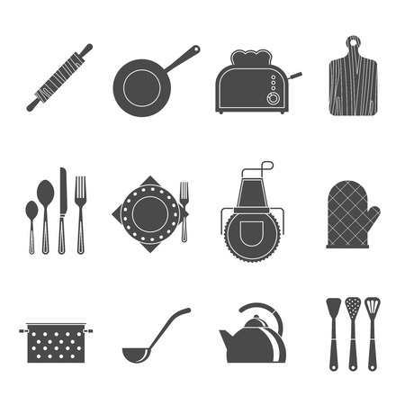 commercial kitchen: Kitchen utensils tools and accessories icons set with cutting board and apron black abstract isolated vector illustration