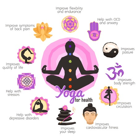 body treatment: Yoga infographics set with person in lotus pose wellness and body treatment symbols vector illustration