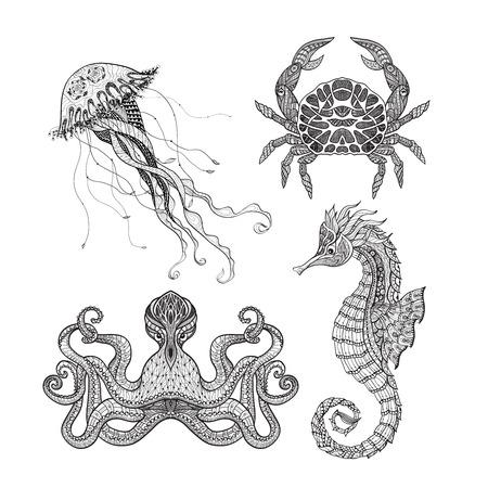 海の動物タツノオトシゴ タコクラゲとカニ落書きアイコン セット黒線設計分離された抽象的なベクトル図  イラスト・ベクター素材