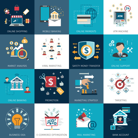 mobile banking: Online internet banking secure payments options with commercial market analysis flat icons set abstract isolated vector illustration