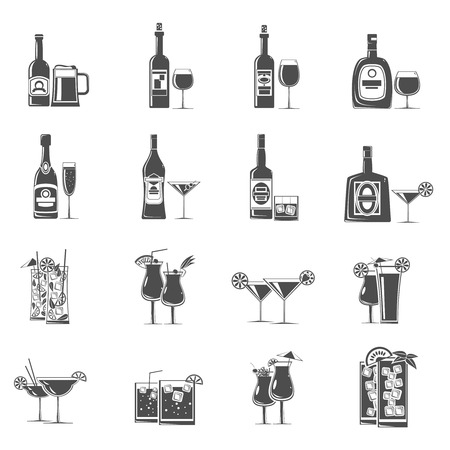 cocktail drinks: Cocktail drinks and refreshments icons black set isolated vector illustration Illustration