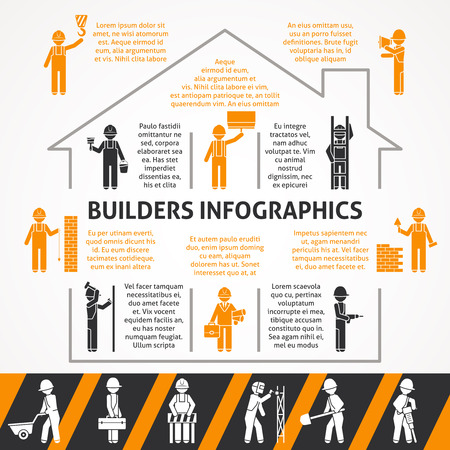 builder symbol: Builders in construction house with text flat black and orange silhouette infographic set vector illustration
