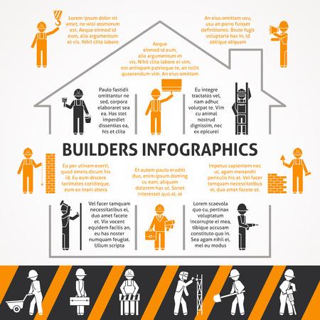 builder: Constructores en casa de la construcci�n con texto plano la silueta en negro y naranja conjunto infograf�a ilustraci�n vectorial Vectores