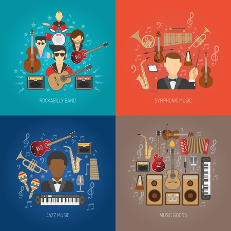 rockabilly: Music design concept set with jazz and symphonic flat icons isolated vector illustration