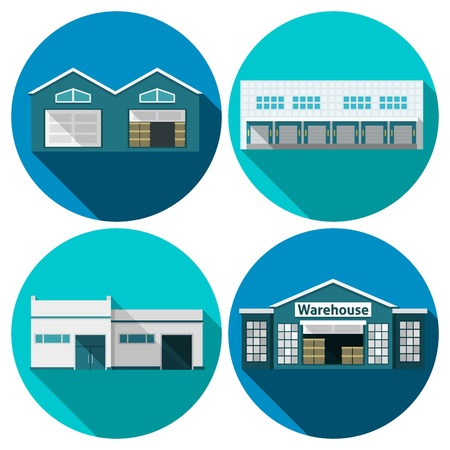 warehouse storage: Warehouse building flat long shadow icons set isolated vector illustration