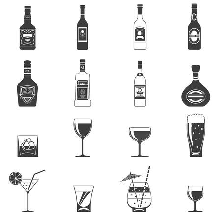 Alkohol černé ikony set s nápojových lahví a skleněných výstřely izolované ilustrace Ilustrace