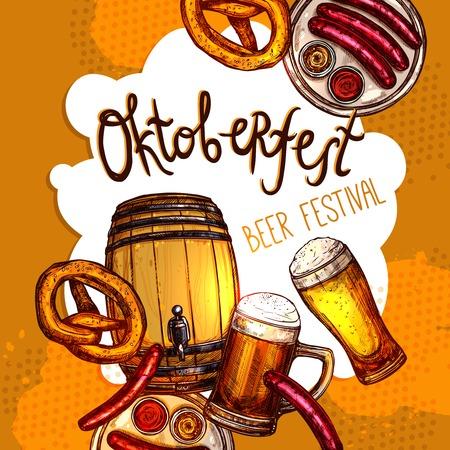 oktoberfest background: Oktoberfest festival promo poster with sketch beer barrel and glasses vector illustration