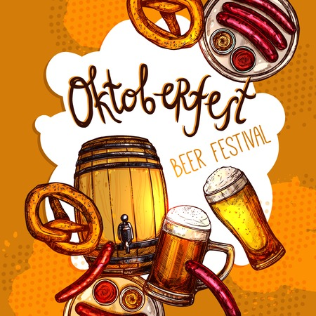 Oktoberfest festival promo poster with sketch beer barrel and glasses vector illustration