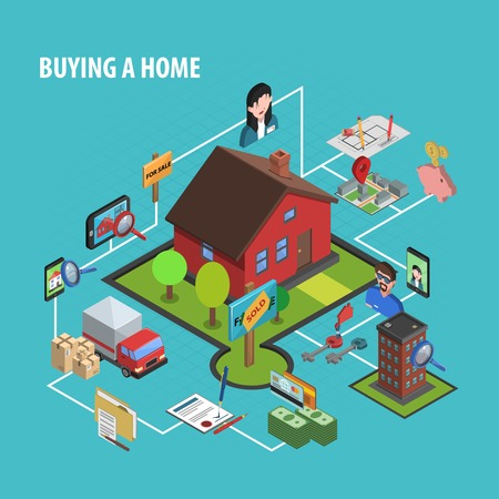 mortage: Real estate buying concept with isometric house choosing icons vector illustration