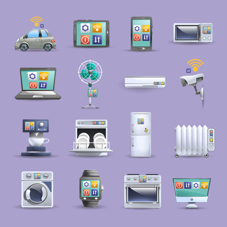 security monitor: Internet of things remote control providing home comfort worldwide flat icons collection poster abstract isolated vector illustration Illustration