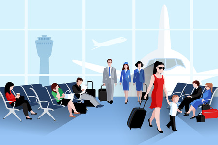departing: People on airport composition with plane window and luggage flat vector illustration