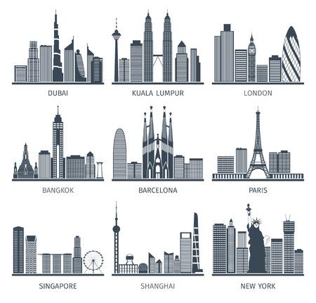 Capitali del mondo famose città del centro caratteristico edifici business center EDIFICE sagome skyline nero astratto illustrazione vettoriale isolato