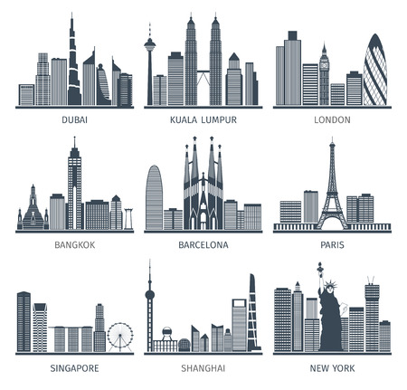 construccion: Mundo capitales famosas ciudades del centro característicos edificios de centro de negocios edifice siluetas horizonte negro resumen ilustración vectorial aislado