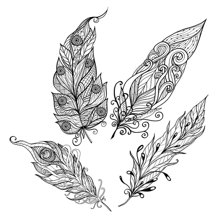 birds in flight: Bird feather decorative icons doodle set with beautiful abstract ornament isolated vector illustration