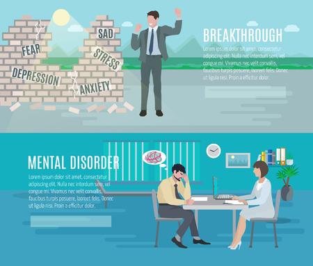 sağlık: Psikiyatr danışmanlık Ruh sağlığı anksiyete bozukluğu atılım 2 düz, yatay afiş ayarlamak soyut izole vektör çizim