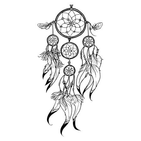 羽飾りのついた白い背景ベクトル図に分離とドリーム キャッチャーを落書き