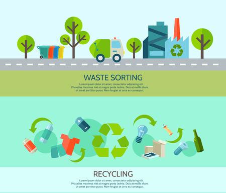 Clasificación de desechos y el reciclaje de banners horizontales establecidas con materiales y fábrica plana aislados ilustración vectorial