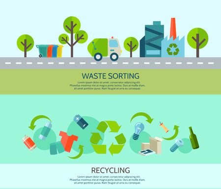 reciclaje papel: Clasificaci�n de desechos y el reciclaje de banners horizontales establecidas con materiales y f�brica plana aislados ilustraci�n vectorial
