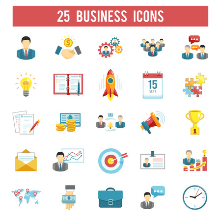 Successful startup business profitable principles for managers in 25 flat  pictograms symbols collection abstract isolated vector illustration Illustration