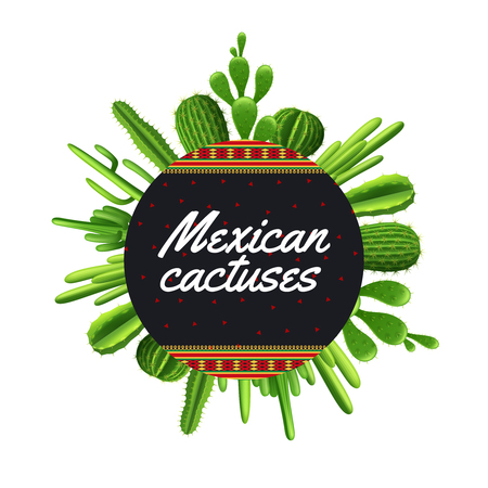 dry flowers: Different types of mexican cactus plants in circle shape vector illustration Illustration