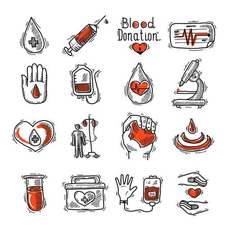 clean blood: Donor sketch decorative icon set with blood drop syringe and heart rate isolated vector illustration
