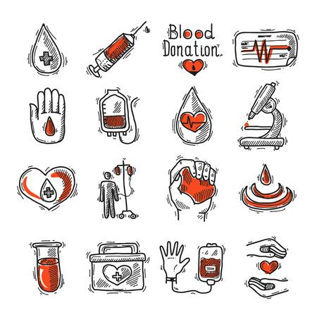 donor: Esbozo de Donantes icono decorativo conjunto con jeringa gota de sangre y tasa de ilustraci�n vectorial aislado coraz�n Vectores
